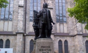 In Leipzig, Germany - the famous statue and burial place of Johann Sebastian Bach - St. Thomas Church